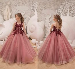 2018 Elegant Pink Flower Girls Dresses For Wedding Party Holiday Maroon Applique Girls Pageant Dresses Customize Tulle Lace Birthday Dress