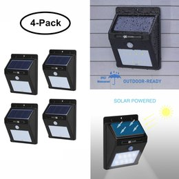 Solar Powered Lights Home Security Accessories IR Illuminators Wireless LED Motion Sensor Auto ON OFF for Garden Garage (4-Pack)
