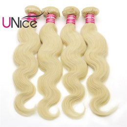 UNice Hair Grade 8A 613 Brazilian Body Wave 4 Bundles Remy 100% Human Hair Extensions Wholesale Cheap Nice Bulk Hair Blonde Weaves