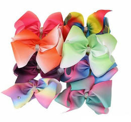 8 inch JoJo Siwa Rhinestone Hair Bows Rainbow Hairpin Rainbow Ribs Bows with Clip Barrettes for Baby and Girl Gifts