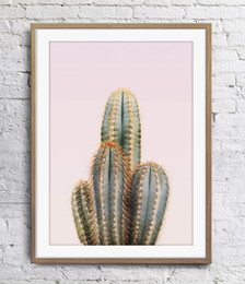 Concise Style Cactus Pink Background Plants Art Poster Wall Decor Pictures Art Print Home Decor Poster Unframe 16 24 36 47 Inches
