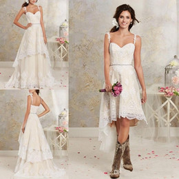 2018 Lace Country Wedding Dresses With Detachable Train High Low Short Bridal Dress Gown Floor length Multi Layers Garden Bohemian BA1855