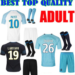 ADULT KIT 2018 Olympique de Marseille soccer jersey 18 19 THAUVIN L.GUSTAVO payet home AWAY THIRD MEN SET Football shirts maillot de foot