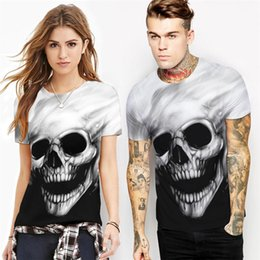 Explosion models 3D skull head digital printing men's T shirt loose version of the couple short sleeved T shirt