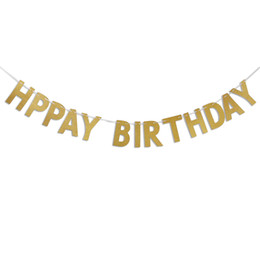 Happy Birthday Banner Chic Glitter Gold Party Decorations Versatile Beautiful Bunting Flag Garland free shipping 2018 new high quality hot
