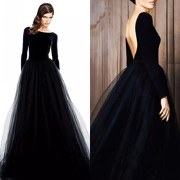 stunning long sleeve evening gowns black velvet dresses evening wear bateau neck low cut back a line tulle skirt formal dresses 2019
