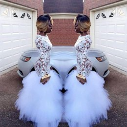 2018 African White Mermaid Lace Evening Dresses for Black Girls Long Sleeves Ruffles Tulle Floor Length Plus Size Prom Gowns Vestidos BA5080