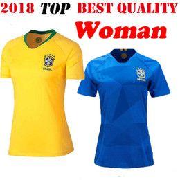Women 2018 World Cup Brazil NEYMAR JR Soccer Jersey Home Yellow Away Blue MARCELO P.COUTINHO JESUS PELE camisa de futeb Football Shirts
