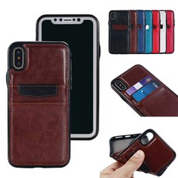 For iPhone XS Max XR 7 8 Plus Shockproof Retro Leather TPU Hard Back Case Wallet Cover with Credit Card Slots Holder