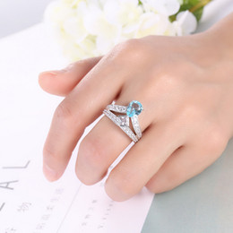 Bulk 3Pcs lot Holiday Gift Jewelry Unique Drop Sky Blue Topaz Crystal Gems Russia 925 Sterling Silver Plated USA Weddiing Party Ring