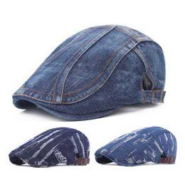 High-quality Men Hats Fashion Design Denim Beret Cap Fashion Hat Women Cotton Hats Adjustable Hat Around Fashion Caps Free Shipping