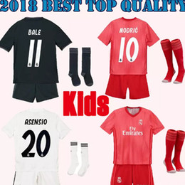 top Quality 2018 2019 Real Madrid kids kits Home white Soccer Jersey 18 19 Real Madrid MODRIC Bale SERGIO RAMOS Football kit shirt