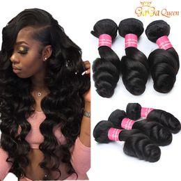 8a Brazilian Loose Wave Virgin Hair Extensions 3 or 4 Bundles Brazilian Human Hair Weaves Double Weft Loose Wave Bundles
