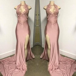Sexy Side Slit Pink Prom Dresses Mermaid High Neck Illusion Bodice Sweep Train Appliqued Beaded Pearls Formal Evening Party Gown BC0227