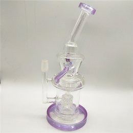 Wholesale Dab Rig Glass Bong Water Pipe 24CM Height Clear and Violet Percolator Recycler Bong Smoking Pipe Oil Rig