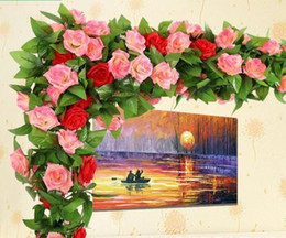 "2.4m  94.5"" Silk Rose Vine Artificial Rose Camellia Flower Vine Wedding Christmas Decorate Artificial Rose Vines 16 colors in stock"