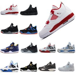 2018 white res shoes 4 4s White Cement Pure Money Basketball Shoes Men Women Bred Royalty Game Royal Sports Sneakers With Shoes Box
