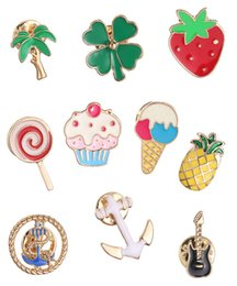Gold Plated Fruit Plants Brooch Pins Enamel Ice Cream Candy Strawberry Cake Tree Violin Anchor Arrow Pineapple pins clothes caps bags pins
