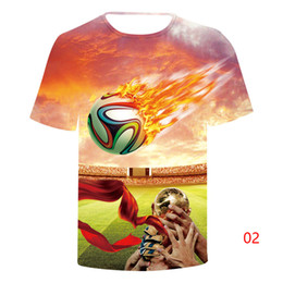 Russia summer new 3d printed T-shirt football match large size T-shirt young men and women's shirts