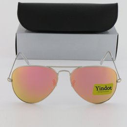 Flash Pink Mirror Pilot Sunglasses Brand Yindot Sun glasses Men Women UV Protect Designer Silver Frame 58mm 62mm Sunglass with Leather Box