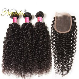Nadula Brazilian Curly Human Hair Bundles with Closure 4Bundles With 1 Lace Closure Virgin Hair Extensions Human Hair Wefts Wholesale Cheap