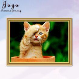 Joyo, diy diamonds cross stitch, shy cats, such as girlish shyness, home decor, perfect design, beautiful gifts