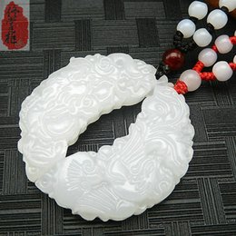 Exquisite 100% Afghan jade white dragon and phoenix pair pendant men and women models couple jade necklace