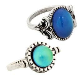 2 Pcs Single Mood Stone Silver Ring Designs Emotion Feeling Color Change Ring Free Shipment RS008-035