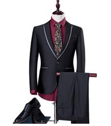 2018 Men's Gray Black Suits Business Blazer Male Casual Suit Set Wedding Dress Men Suits Groom Tuxedos (Jacket+Pant)