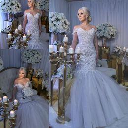 2019 Mermaid Lace Wedding Dresses Arabic Dubai Vestidos Luxurious Bridal Gowns Floor Length Off Shoulder Appliqued Beads