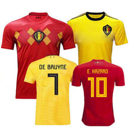 Belgium Soccer jersey 2018 world cup Home 7 DE BRUYNE 10 E.HAZARD de foot 9 LUKAKU 4 KOMPANY 14 MERTENE Red Football uniforms kits shirt