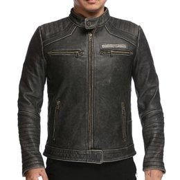 M-XXXL Marbobo classic genuine leather jackets embroidery vintage motorcycle leather jackets