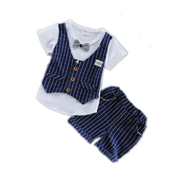 Fashion 2018 Children Tracksuits Baby Boys Girls Short T-shirt Shorts 2Pcs sets Summer Kids Plaid Bowknot Pure Cotton Clothes