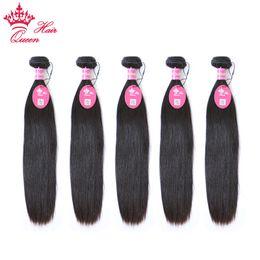 Queen Hair Products Brazilian Straight 5 pcs lot DHL Free Shipping Brazilian Weave Bundles Human Hair Weave Straight