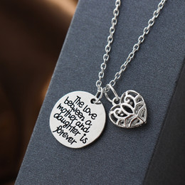 Explosion models family alloy hollow heart mother daugher inspirational pendant necklace