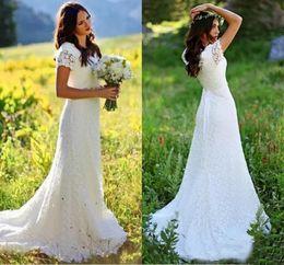 Bohemian 2020 V Neck White Lace Beach Wedding Dresses Crystals Belt Short Sleeves Country Sheath Boho Bridal Gowns Custom Vestidos De Novia