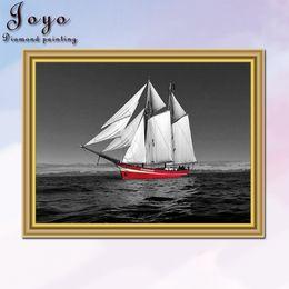 Joyo DIY resin diamondpainting cross stitch, red and black series sailing, home decor, restaurant decoration, perfect design, beautiful gift