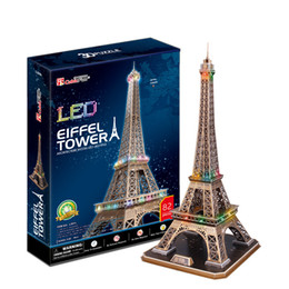 Cubicfun 3D Puzzle the Eiffle Tower 82Pcs with LED Light Foam Paper Jigsaw Educational Toy Assembly DIY Building Model Gifts