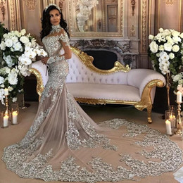 Dubai Arabic Luxury Sparkly Wedding Dresses Sexy Bling Beaded Lace Applique High Neck Illusion Long Sleeves Mermaid Bridal Gowns BA6703
