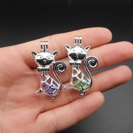 10pcs Silver Grace Cat Pearl Cage Jewelry Making Supplies Beads Cage Pendant Essential Oil Diffuser For Oyster Pearl Fun Gifts