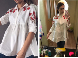 2018 New Cotton Casual Turn-down Collar Long Sleeve White Women Chinese Plum Embroidery Blouse Female Work Shirts Office Tops