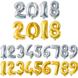 "3 Sizes 16"" 32"" 40"" 10 Letters Figures Foil Gold&Silver Number Balloon Float air Inflatable Balls For Birthday Party Wedding Decoration"