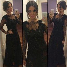 New Black Lace 2018 Long Sleeve Evening Dresses Formal Vestido De Festa Long Prom Dress Party Gowns Floor Length BA9505