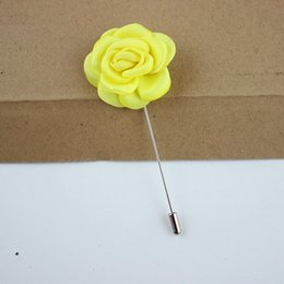 Rose Corsage Groom Brooch Pin Man Wedding Satin Flowers Boutonniere Prom Party Brooch Pin Accessories Decorations