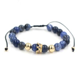 Fashion Men Women Stone Bead Bracelet,Pave Setting Black CZ Crown Charm Weave Braiding Men Macrame Bracelet