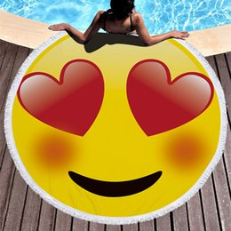 Round beach towel 3D printing emoji beach towel tapestry hippy boho table cloth bohemian serviette covers beach shawl wrap yoga mat