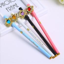 "2Pcs Creative Love Gem Crown Gel Pen School Office Supplies Kawaii Pen Girl Stationery Cute Writing Cartoon Lovely Simple Fashion Pen 6.69"""