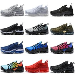 Hot Vapormax Plus TN VM Olive In Metallic White Triple Black Silver Grey Bleached Aqua Olive Hyper Violet Mens Running Hiking Shoes Sneakers