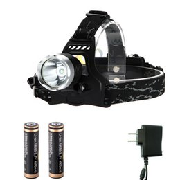 wholesale 1800 Lumen XML T6 High Power LED Headlamp Headlight Flashlight Torch 3 Modes with 2 x 18650 Batteries Charger sets