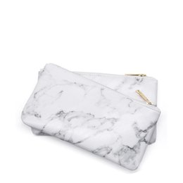 Fashion Marble PU Leather Cosmetic Bag organizador Zipper Storage Bag Portable Ladies Travel Square Makeup Brushes Bag